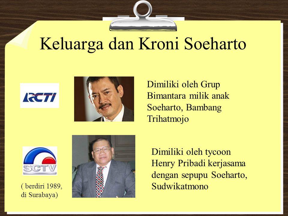 Keluarga dan Kroni Soeharto Dimiliki oleh Grup Bimantara milik anak Soeharto, Bambang Trihatmojo ( berdiri 1989, di Surabaya) Dimiliki oleh tycoon Hen