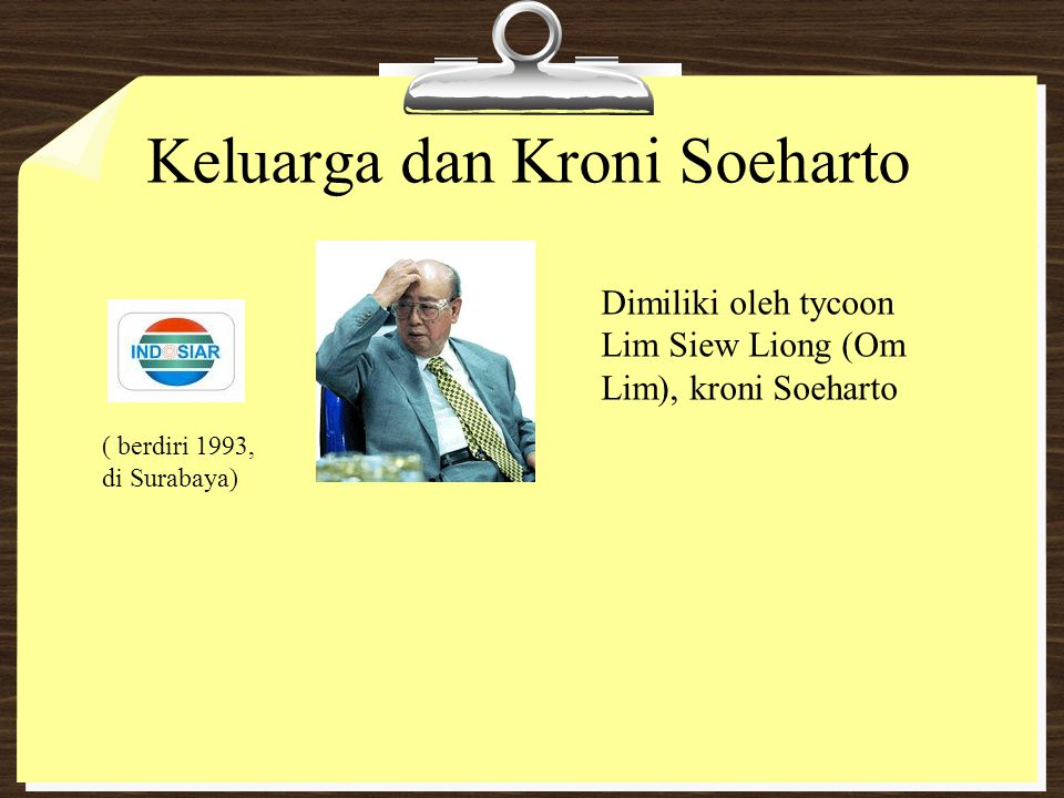 Keluarga dan Kroni Soeharto Dimiliki oleh tycoon Lim Siew Liong (Om Lim), kroni Soeharto ( berdiri 1993, di Surabaya)