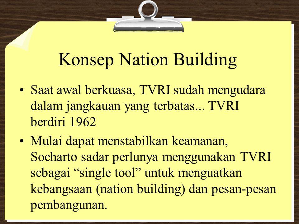 Konsep Nation Building Saat awal berkuasa, TVRI sudah mengudara dalam jangkauan yang terbatas... TVRI berdiri 1962 Mulai dapat menstabilkan keamanan,