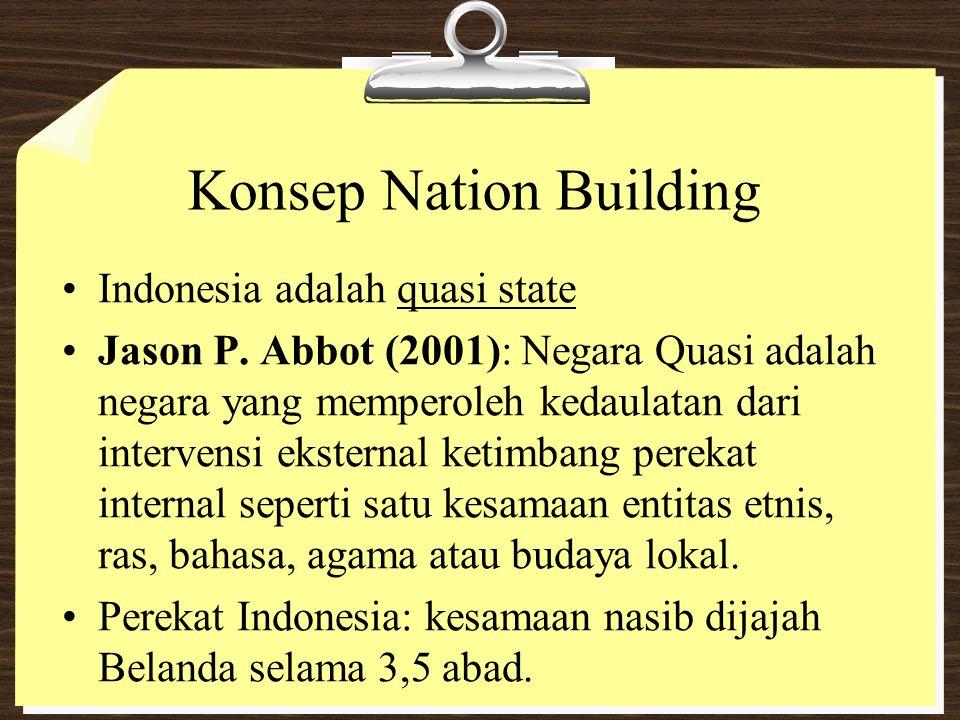 Konsep Nation Building Indonesia adalah quasi state Jason P. Abbot (2001): Negara Quasi adalah negara yang memperoleh kedaulatan dari intervensi ekste