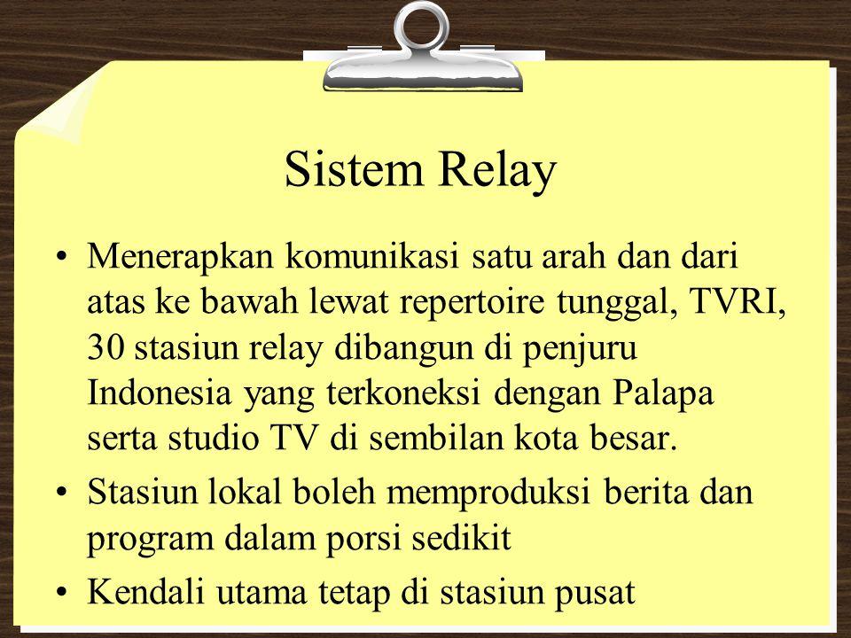 Sistem Relay Menerapkan komunikasi satu arah dan dari atas ke bawah lewat repertoire tunggal, TVRI, 30 stasiun relay dibangun di penjuru Indonesia yan