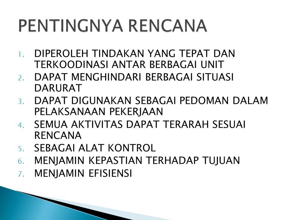 1.DIPEROLEH TINDAKAN YANG TEPAT DAN TERKOODINASI ANTAR BERBAGAI UNIT 2.