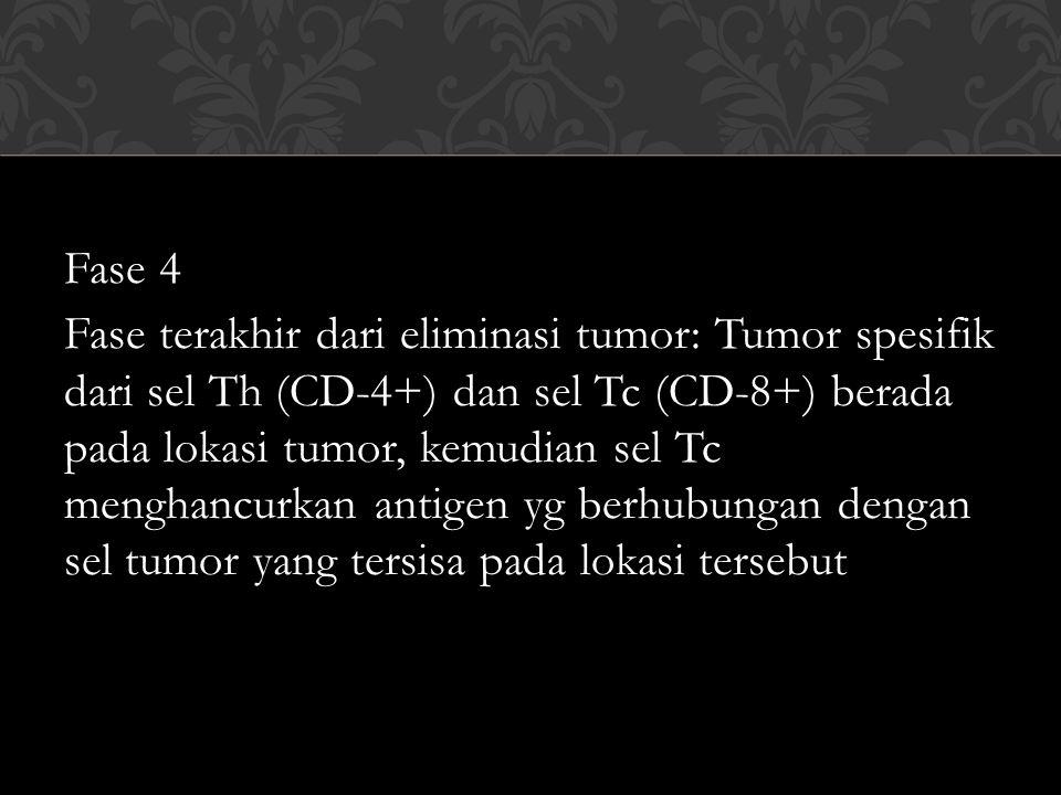 Fase 4 Fase terakhir dari eliminasi tumor: Tumor spesifik dari sel Th (CD-4+) dan sel Tc (CD-8+) berada pada lokasi tumor, kemudian sel Tc menghancurk