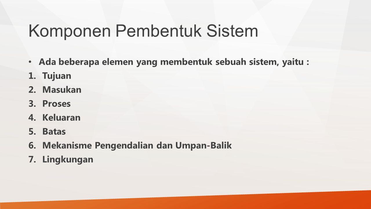 Ada beberapa elemen yang membentuk sebuah sistem, yaitu : 1.Tujuan 2.Masukan 3.Proses 4.Keluaran 5.Batas 6.Mekanisme Pengendalian dan Umpan-Balik 7.Li