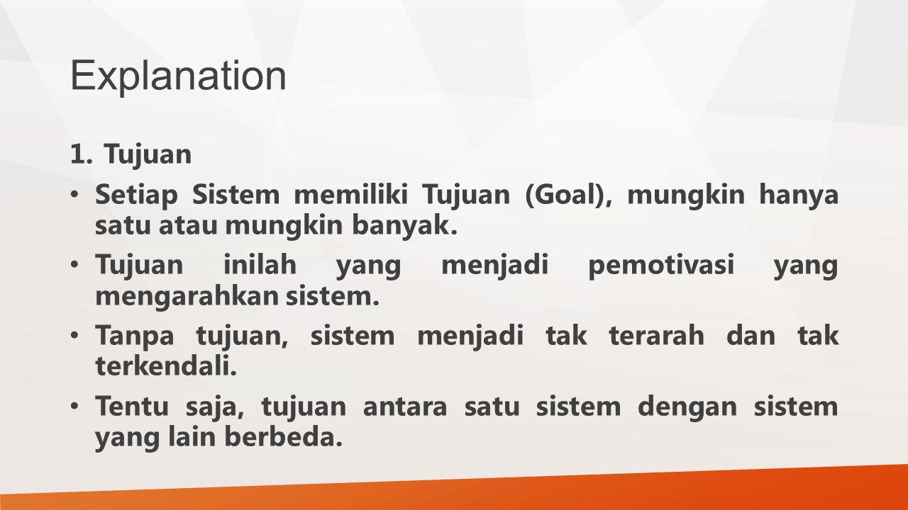 Explanation 1.Tujuan Setiap Sistem memiliki Tujuan (Goal), mungkin hanya satu atau mungkin banyak. Tujuan inilah yang menjadi pemotivasi yang mengarah