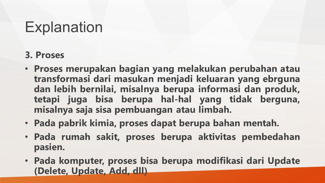 Explanation 3. Proses Proses merupakan bagian yang melakukan perubahan atau transformasi dari masukan menjadi keluaran yang ebrguna dan lebih bernilai