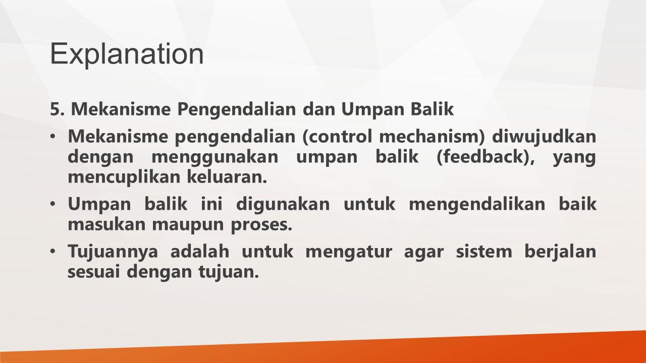 Explanation 5. Mekanisme Pengendalian dan Umpan Balik Mekanisme pengendalian (control mechanism) diwujudkan dengan menggunakan umpan balik (feedback),