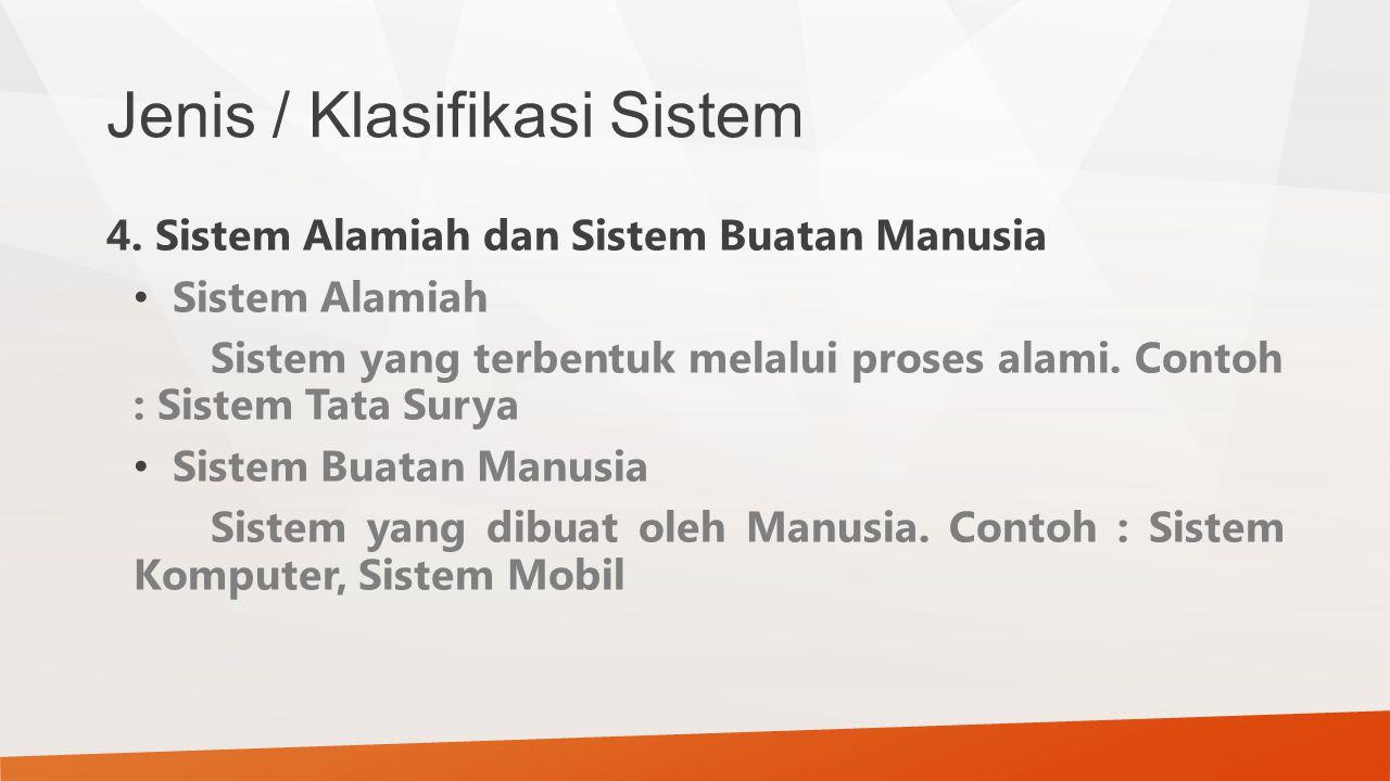 Jenis / Klasifikasi Sistem 4. Sistem Alamiah dan Sistem Buatan Manusia Sistem Alamiah Sistem yang terbentuk melalui proses alami. Contoh : Sistem Tata