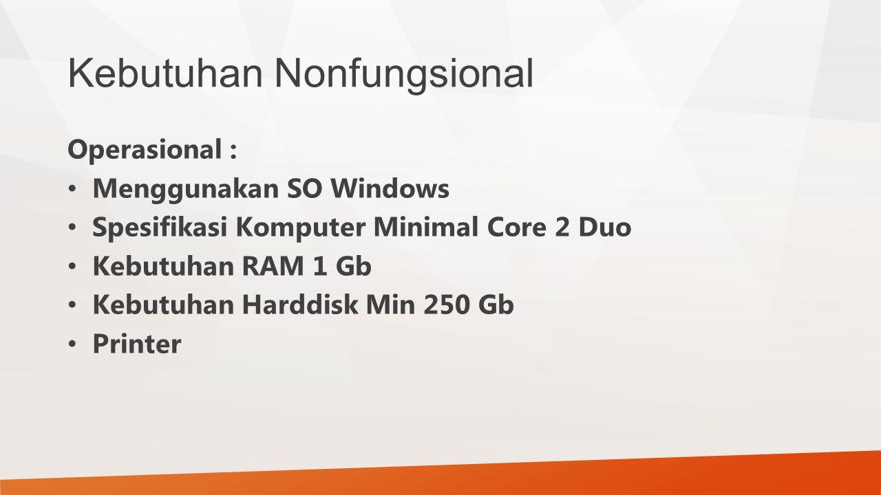 Kebutuhan Nonfungsional Operasional : Menggunakan SO Windows Spesifikasi Komputer Minimal Core 2 Duo Kebutuhan RAM 1 Gb Kebutuhan Harddisk Min 250 Gb