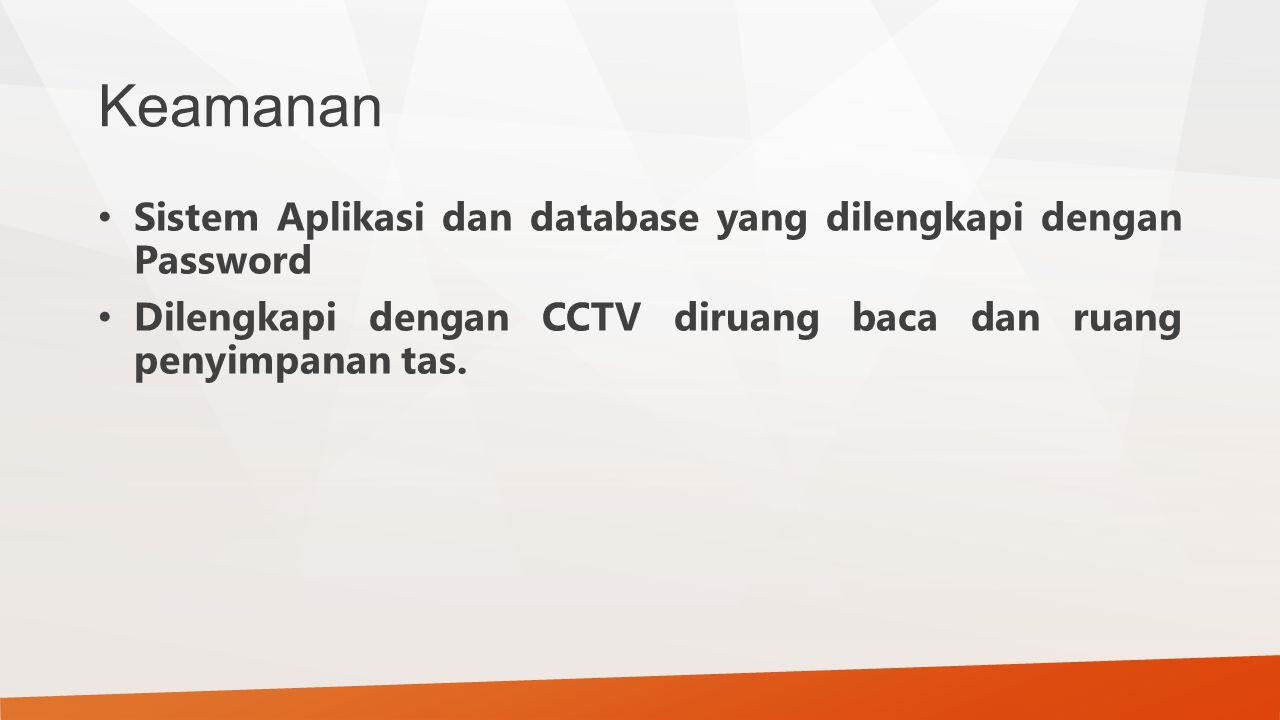 Keamanan Sistem Aplikasi dan database yang dilengkapi dengan Password Dilengkapi dengan CCTV diruang baca dan ruang penyimpanan tas.