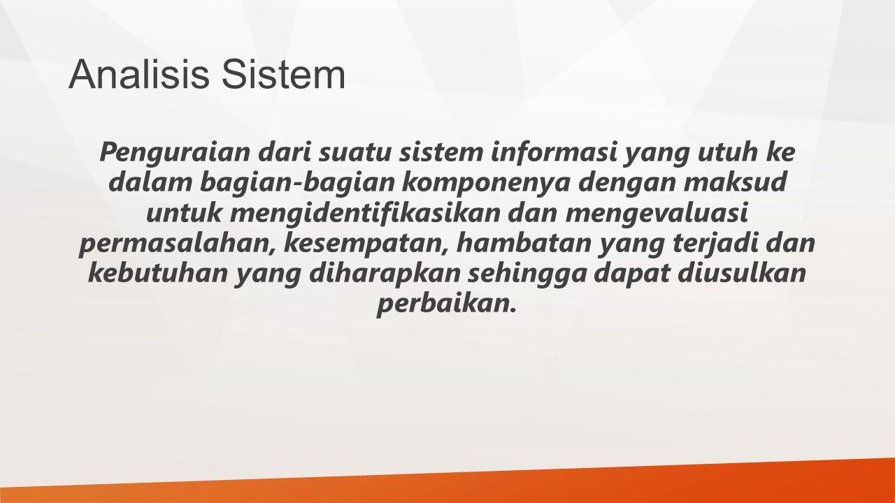 Analisis Sistem Penguraian dari suatu sistem informasi yang utuh ke dalam bagian-bagian komponenya dengan maksud untuk mengidentifikasikan dan mengeva