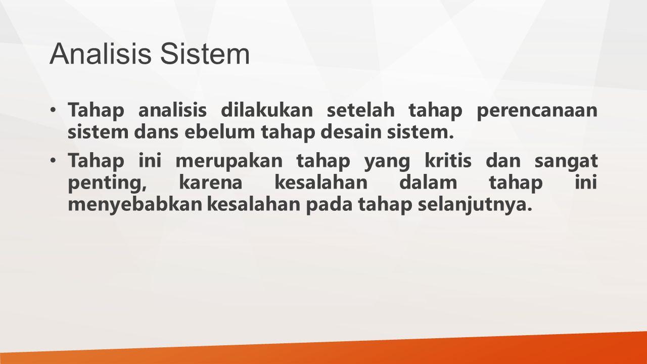 Analisis Sistem Tahap analisis dilakukan setelah tahap perencanaan sistem dans ebelum tahap desain sistem. Tahap ini merupakan tahap yang kritis dan s