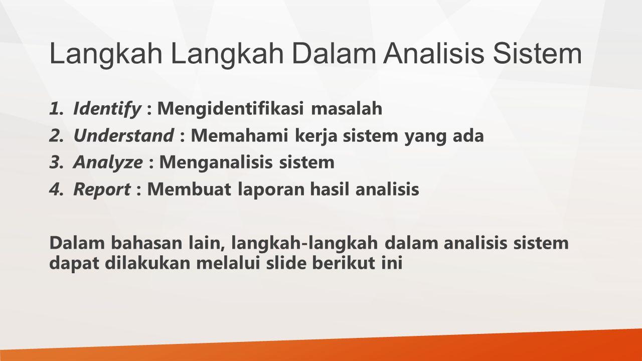 Langkah Langkah Dalam Analisis Sistem 1.Identify : Mengidentifikasi masalah 2.Understand : Memahami kerja sistem yang ada 3.Analyze : Menganalisis sis