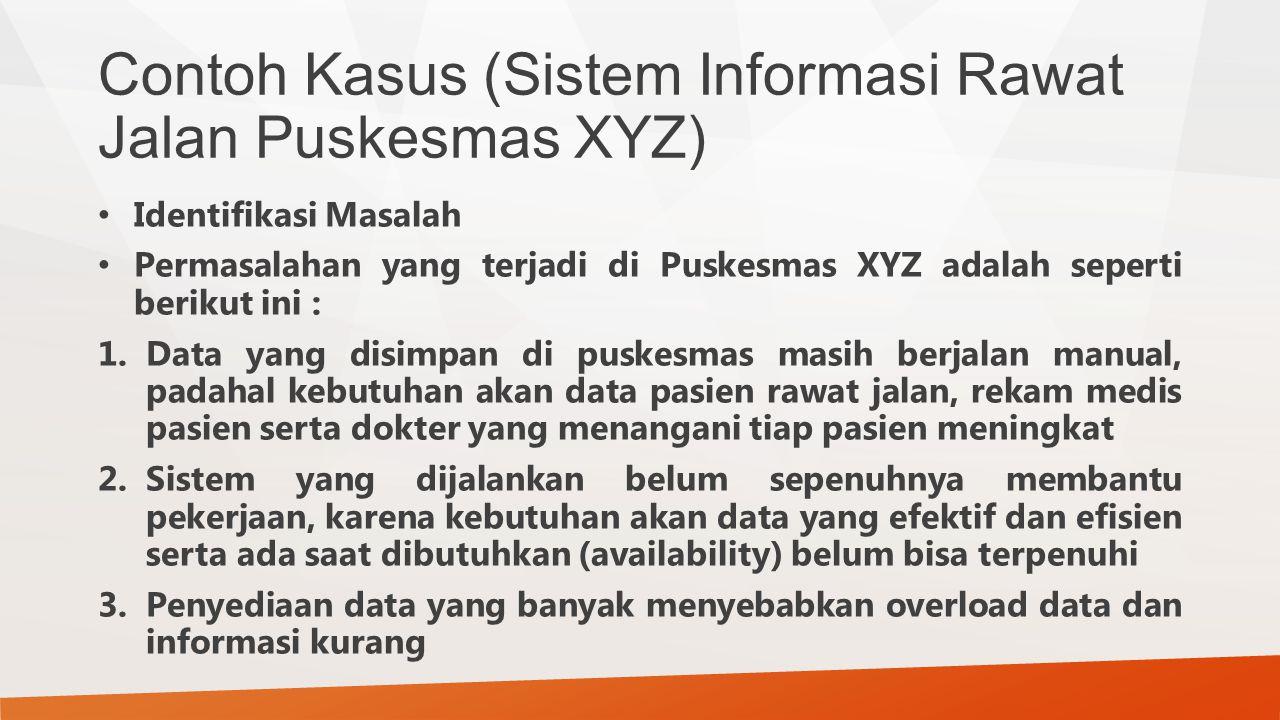 Contoh Kasus (Sistem Informasi Rawat Jalan Puskesmas XYZ) Identifikasi Masalah Permasalahan yang terjadi di Puskesmas XYZ adalah seperti berikut ini :