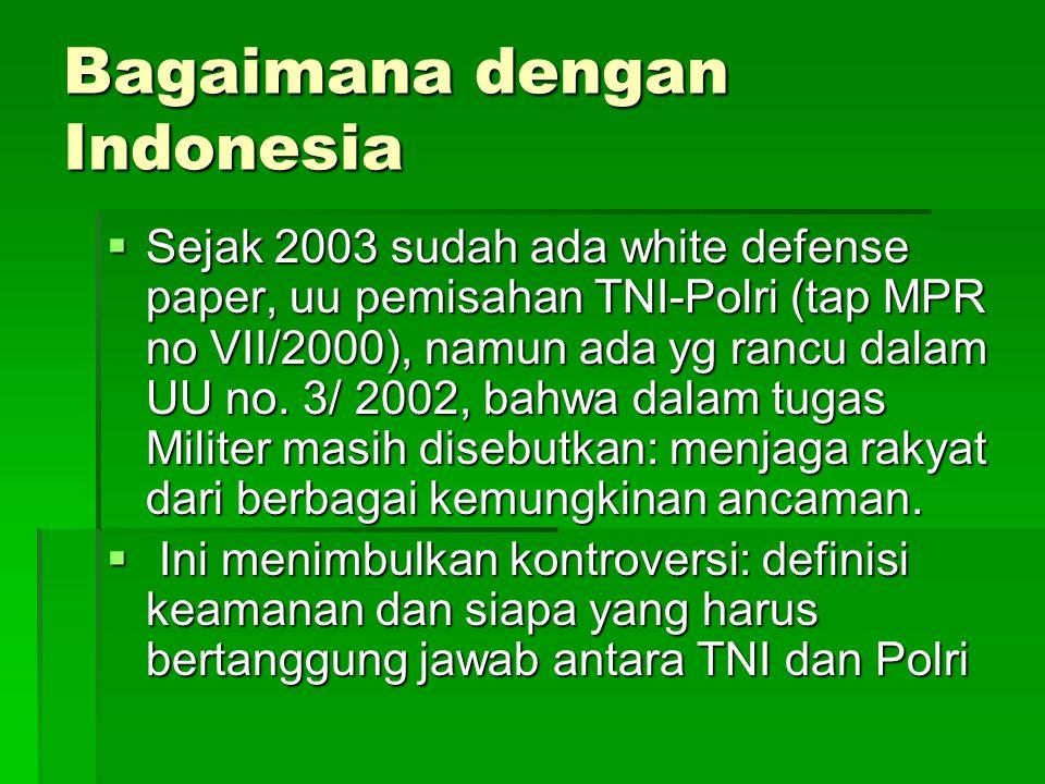 Bagaimana dengan Indonesia  Sejak 2003 sudah ada white defense paper, uu pemisahan TNI-Polri (tap MPR no VII/2000), namun ada yg rancu dalam UU no. 3