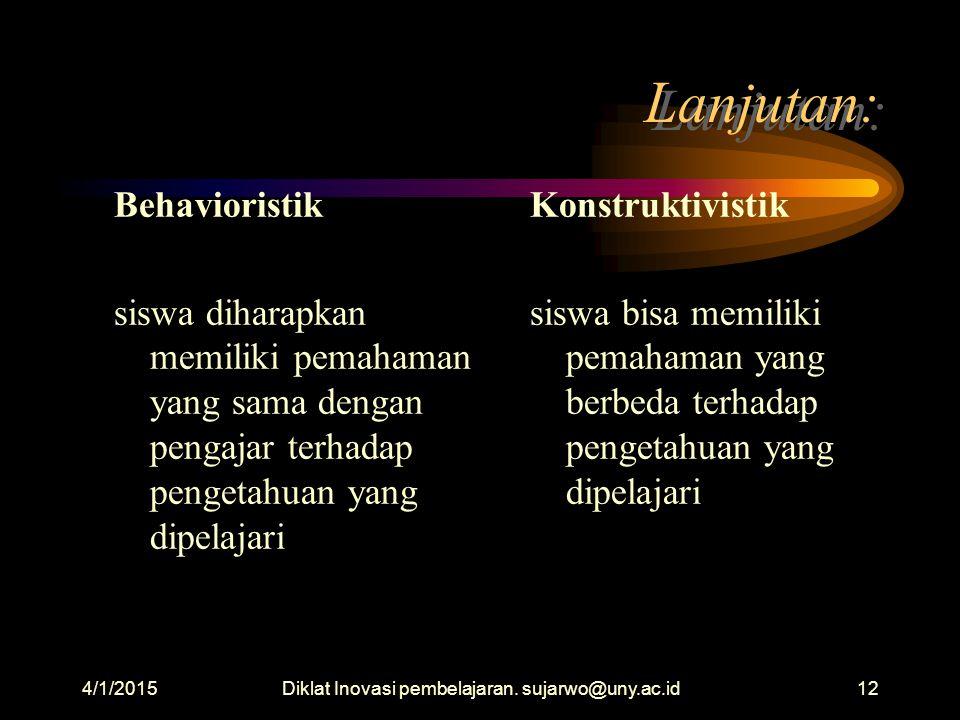 4/1/2015Diklat Inovasi pembelajaran. sujarwo@uny.ac.id11 Lanjutan: Konstruktivistik Mind berfungsi sebagai alat menginterpretasi sehingga muncul makna