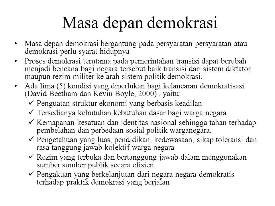 Masa depan demokrasi Masa depan demokrasi bergantung pada persyaratan persyaratan atau demokrasi perlu syarat hidupnya Proses demokrasi terutama pada