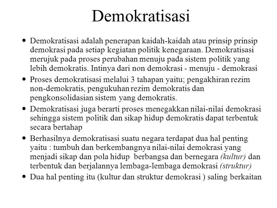 Demokratisasi Demokratisasi adalah penerapan kaidah-kaidah atau prinsip prinsip demokrasi pada setiap kegiatan politik kenegaraan. Demokratisasi meruj