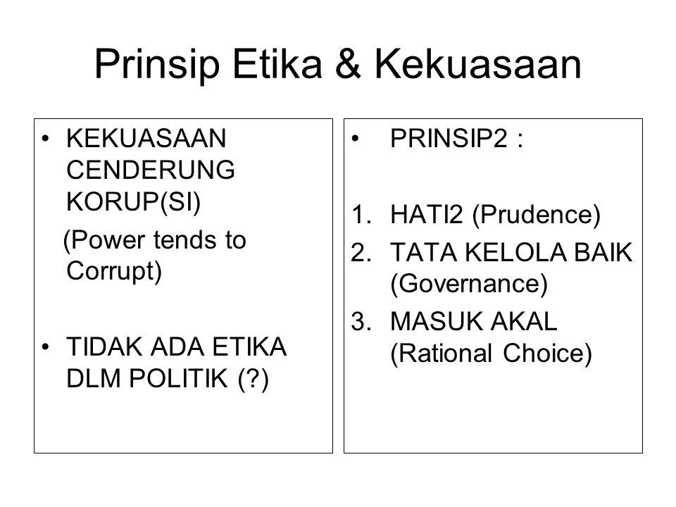 Prinsip Etika & Kekuasaan KEKUASAAN CENDERUNG KORUP(SI) (Power tends to Corrupt) TIDAK ADA ETIKA DLM POLITIK (?) PRINSIP2 : 1.HATI2 (Prudence) 2.TATA