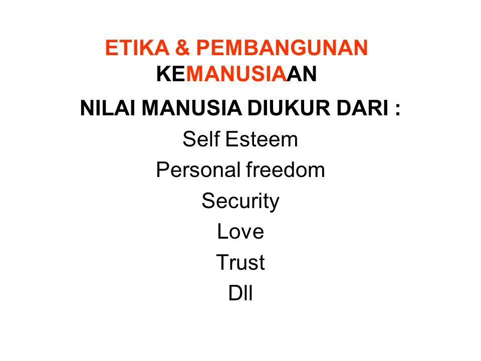 ETIKA & PEMBANGUNAN KEMANUSIAAN NILAI MANUSIA DIUKUR DARI : Self Esteem Personal freedom Security Love Trust Dll