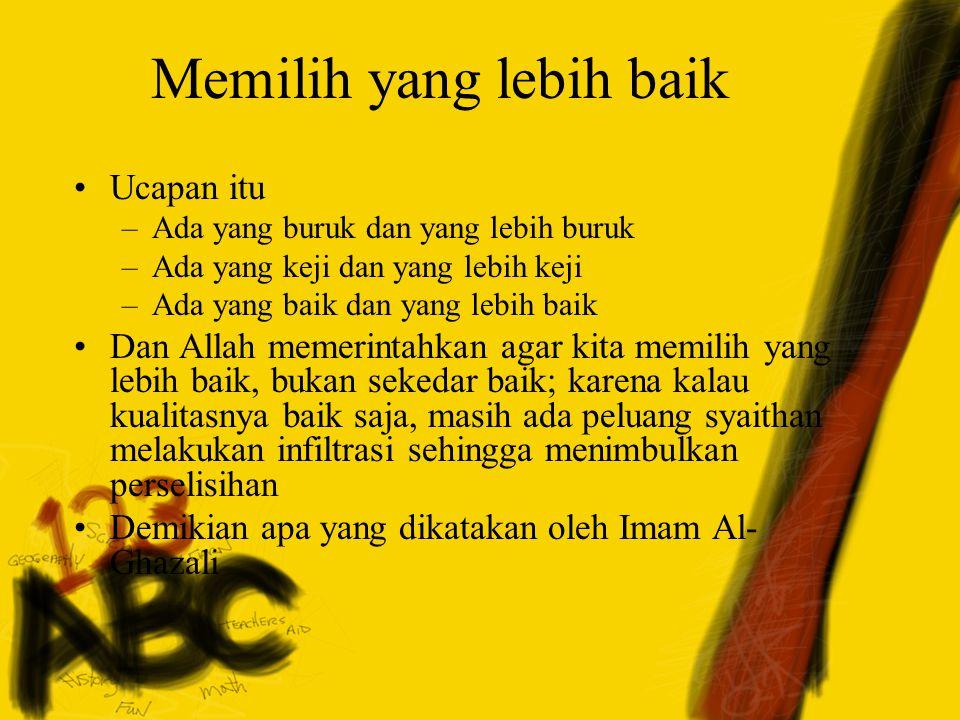 Rasul SAW bersabda: والكَلِمَةُ الطَّيِّبَةُ صَدَقةٌ Dan kalimat (ucapan) yang baik adalah shadaqah (HR Bukhari dan Muslim) Ada beberapa kewajiban utama dari lidah kita, yaitu menggunakannya dalam dakwah kepada kebaikan, amar ma'ruf, nahi munkar, mendamaikan persengketaan, dan menyerukan kebaikan dan takwa