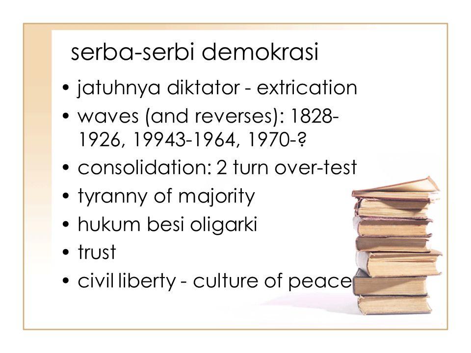 serba-serbi demokrasi jatuhnya diktator - extrication waves (and reverses): 1828- 1926, 19943-1964, 1970-.