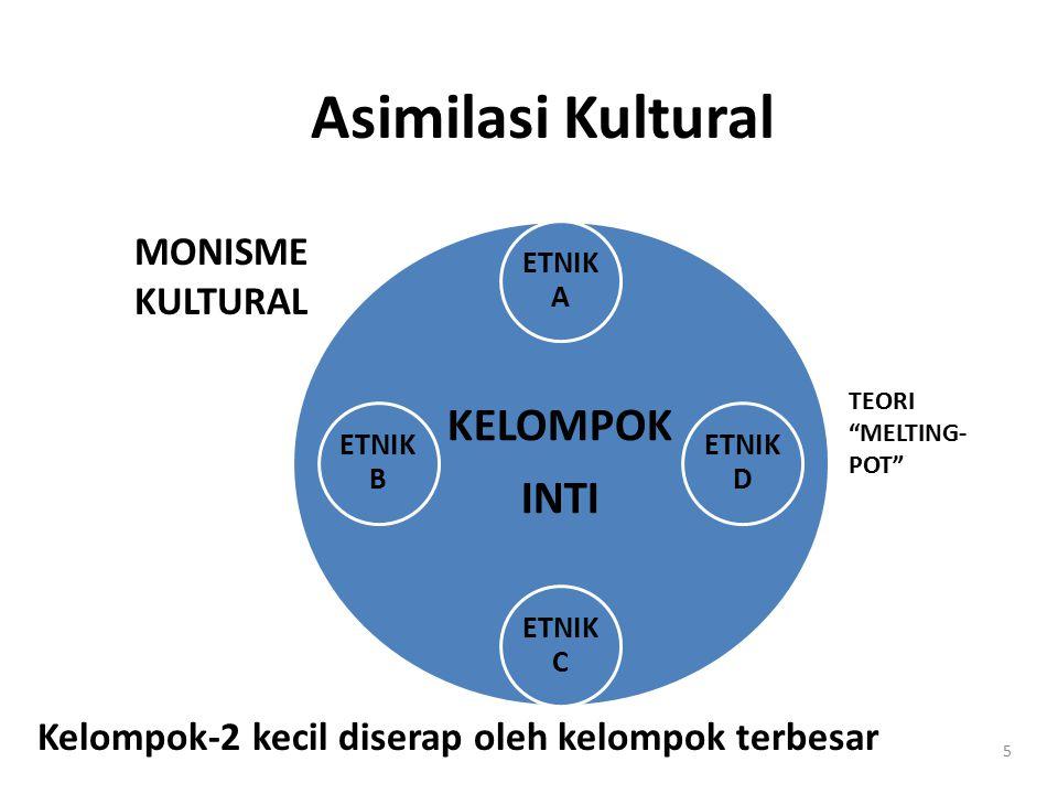 Multi-kulturalisme INDO- NESIA ETNIK A ETNIK D ETNIK C ETNIK B 6 PLURALISME KULTURAL Berbagai kelompok mempertahankan identitasnya.