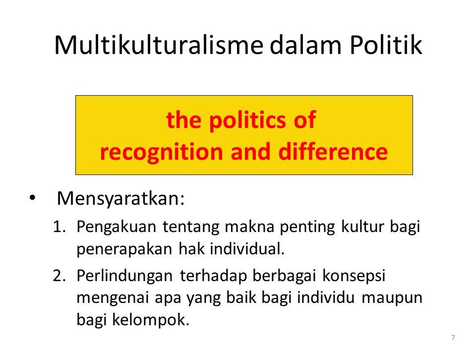8 Multikulturalisme vs. Liberalisme Liberalisme = Hak individual Multikulturalisme = Hak kelompok