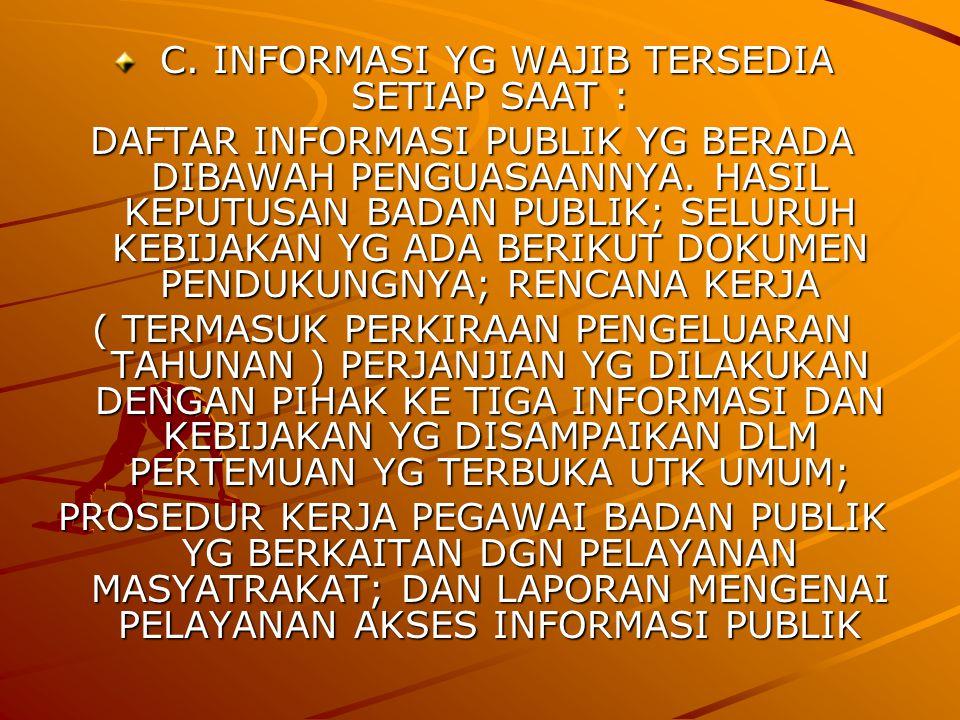 C.INFORMASI YG WAJIB TERSEDIA SETIAP SAAT : C.