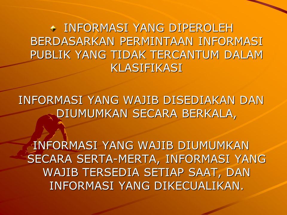 INFORMASI YANG DIPEROLEH BERDASARKAN PERMINTAAN INFORMASI PUBLIK YANG TIDAK TERCANTUM DALAM KLASIFIKASI INFORMASI YANG DIPEROLEH BERDASARKAN PERMINTAAN INFORMASI PUBLIK YANG TIDAK TERCANTUM DALAM KLASIFIKASI INFORMASI YANG WAJIB DISEDIAKAN DAN DIUMUMKAN SECARA BERKALA, INFORMASI YANG WAJIB DIUMUMKAN SECARA SERTA-MERTA, INFORMASI YANG WAJIB TERSEDIA SETIAP SAAT, DAN INFORMASI YANG DIKECUALIKAN.