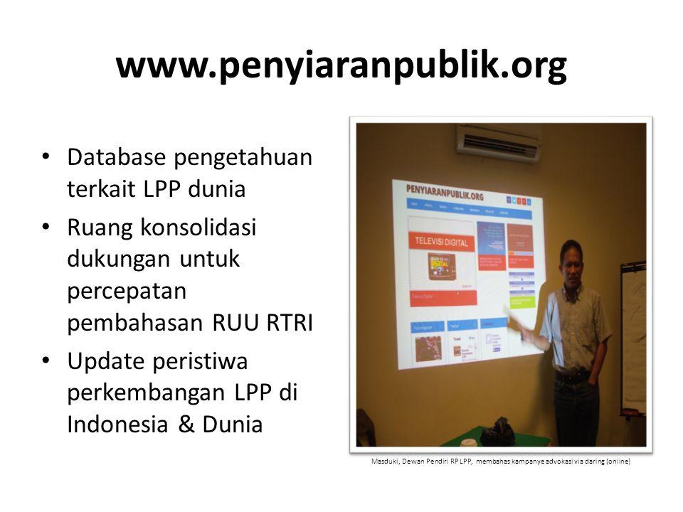 www.penyiaranpublik.org Database pengetahuan terkait LPP dunia Ruang konsolidasi dukungan untuk percepatan pembahasan RUU RTRI Update peristiwa perkem