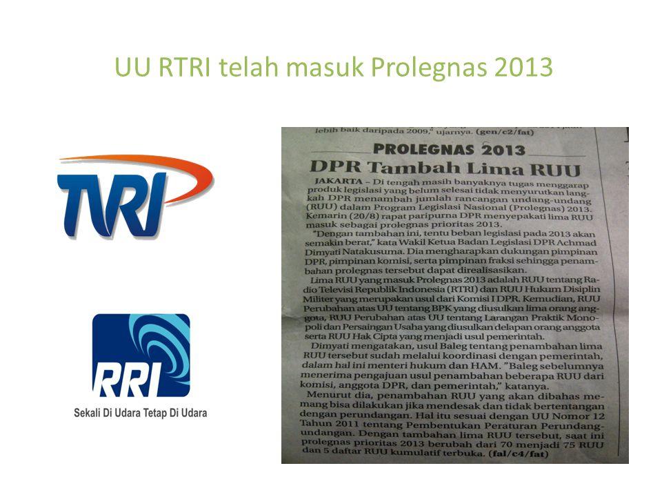 UU RTRI telah masuk Prolegnas 2013