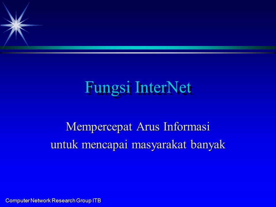 Computer Network Research Group ITB Fungsi InterNet Mempercepat Arus Informasi untuk mencapai masyarakat banyak