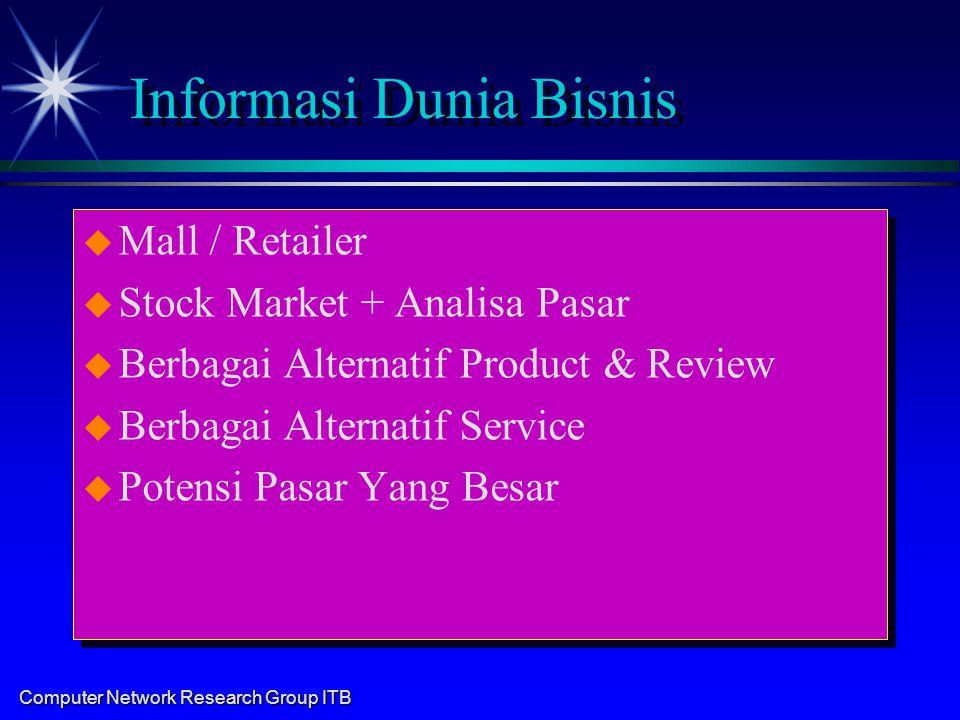 Computer Network Research Group ITB Informasi Dunia Bisnis u u Mall / Retailer u u Stock Market + Analisa Pasar u u Berbagai Alternatif Product & Revi