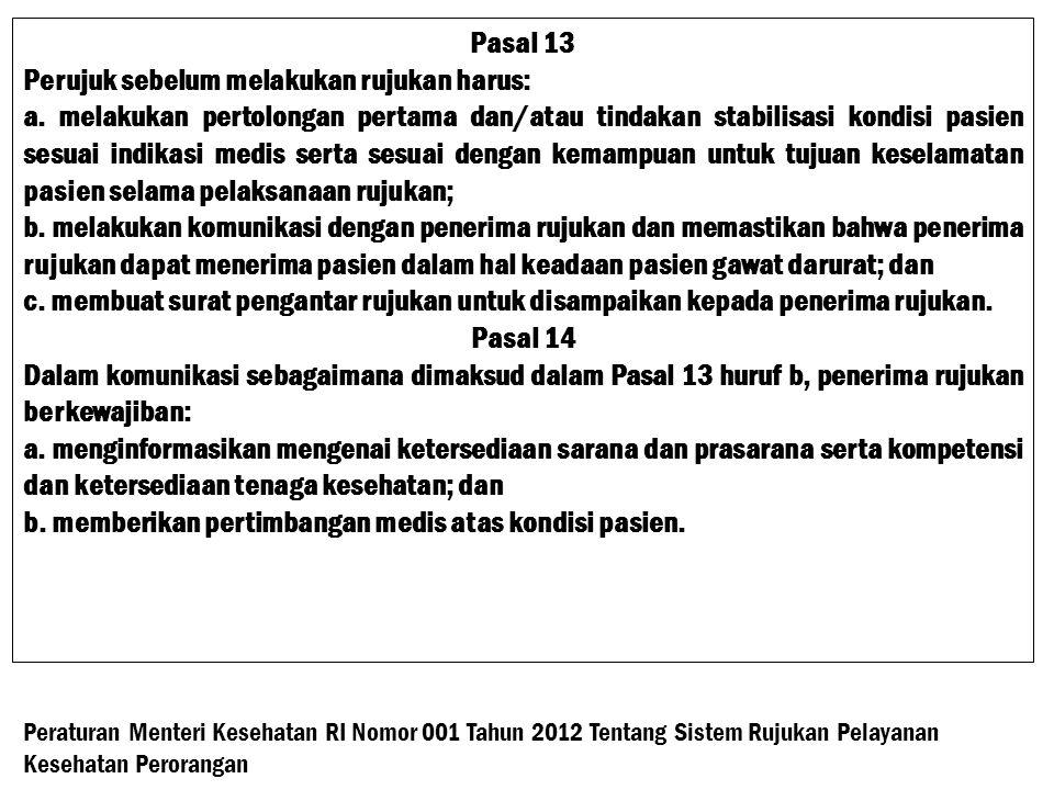 Pasal 13 Perujuk sebelum melakukan rujukan harus: a.