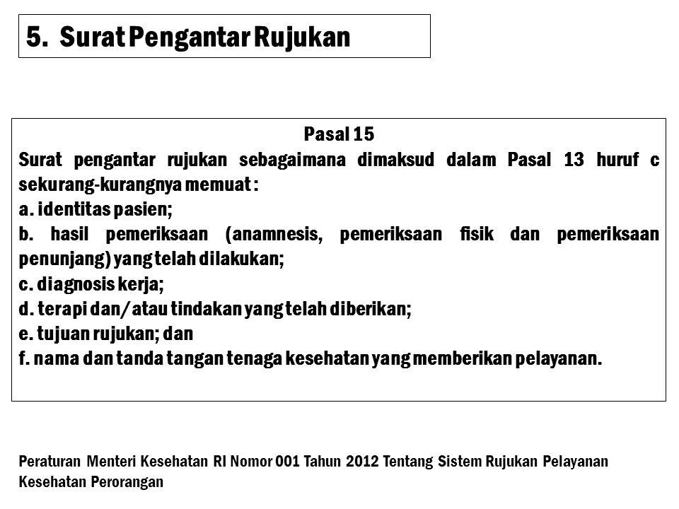 5.Surat Pengantar Rujukan Pasal 15 Surat pengantar rujukan sebagaimana dimaksud dalam Pasal 13 huruf c sekurang-kurangnya memuat : a.
