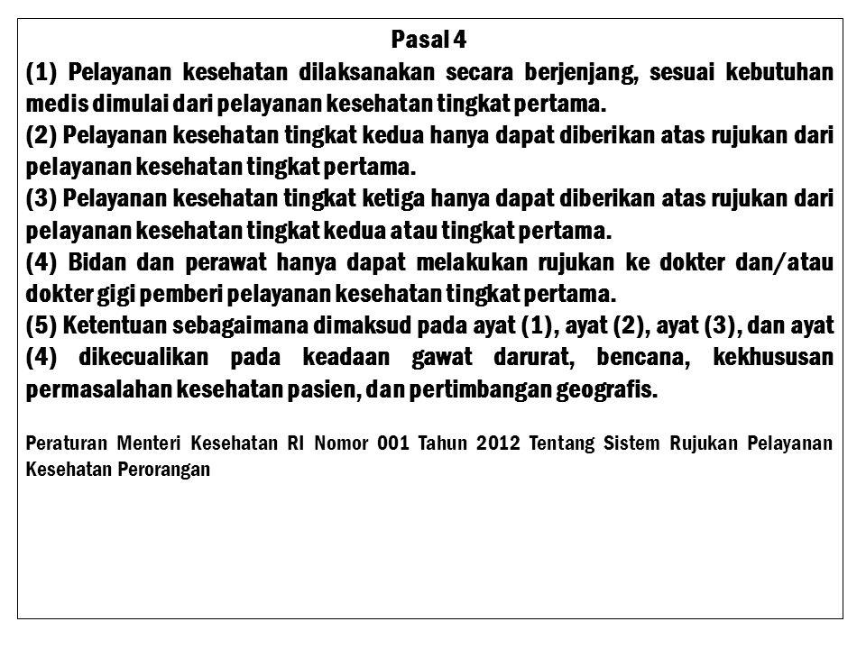 Peraturan Menteri Kesehatan RI Nomor 001 Tahun 2012 Tentang Sistem Rujukan Pelayanan Kesehatan Perorangan BAB II PELAYANAN KESEHATAN PERORANGAN Pasal 2 (1) Pelayanan kesehatan perorangan terdiri dari 3 (tiga) tingkatan yaitu : a.