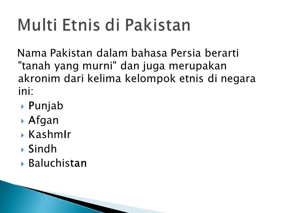 Nama Pakistan dalam bahasa Persia berarti tanah yang murni dan juga merupakan akronim dari kelima kelompok etnis di negara ini:  Punjab  Afgan  KashmIr  Sindh  Baluchistan