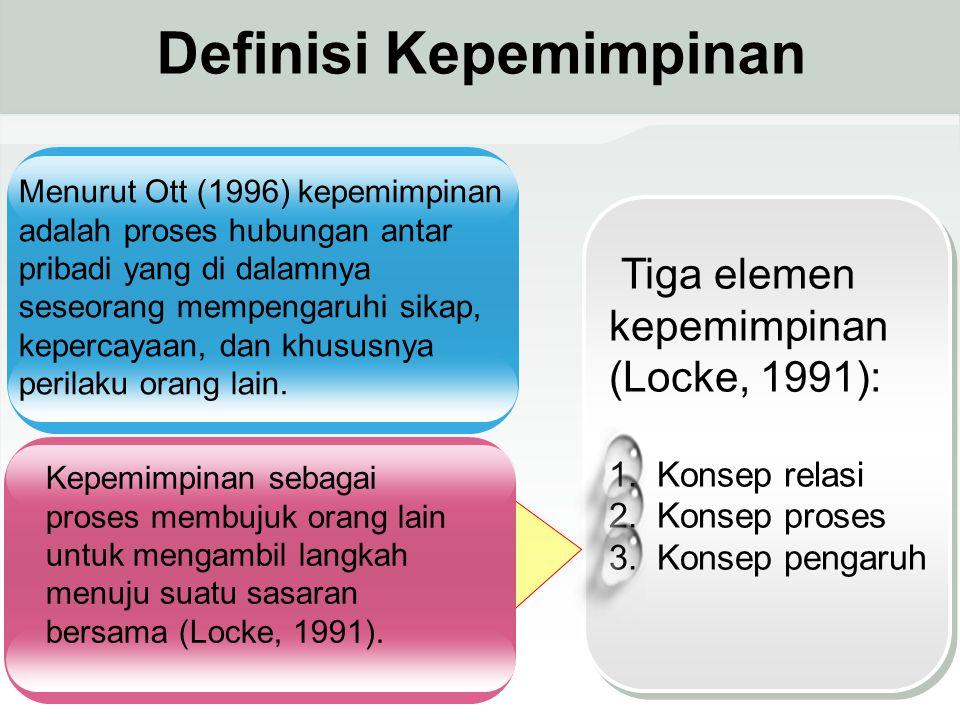 Tiga elemen kepemimpinan (Locke, 1991): 1.Konsep relasi 2.Konsep proses 3.Konsep pengaruh Menurut Ott (1996) kepemimpinan adalah proses hubungan antar