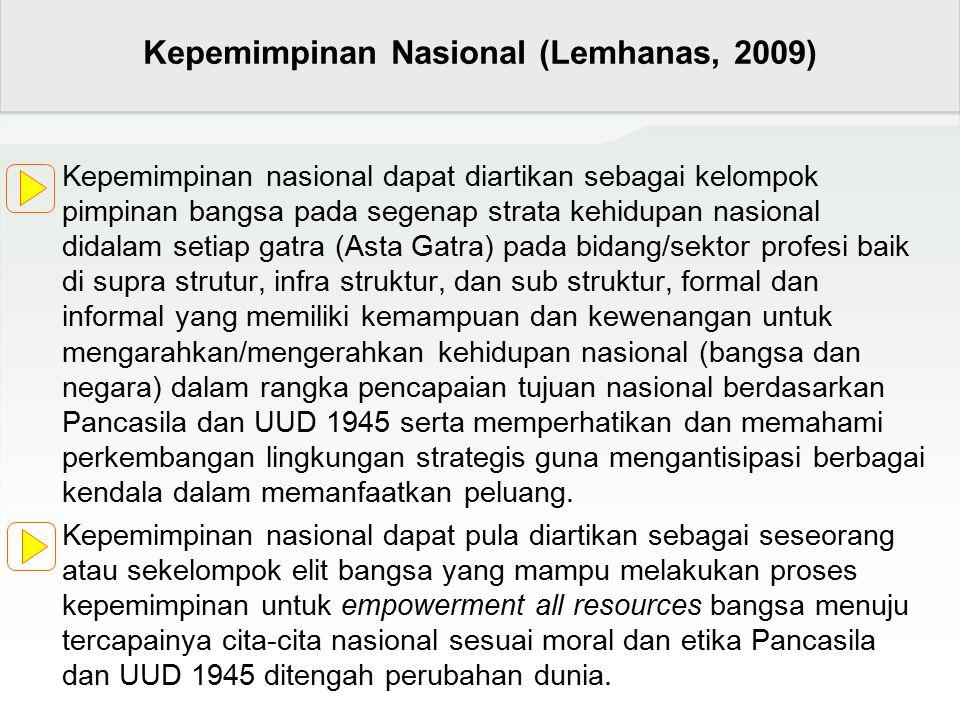 Kepemimpinan nasional dapat diartikan sebagai kelompok pimpinan bangsa pada segenap strata kehidupan nasional didalam setiap gatra (Asta Gatra) pada b
