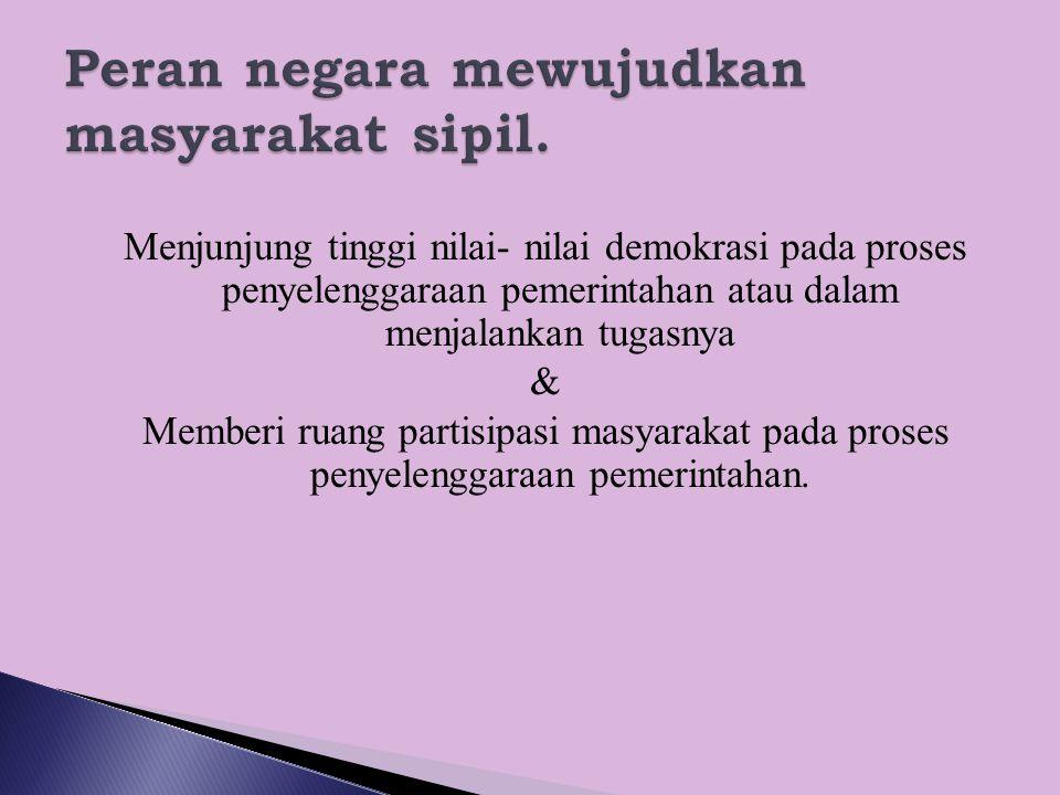 Menjunjung tinggi nilai- nilai demokrasi pada proses penyelenggaraan pemerintahan atau dalam menjalankan tugasnya & Memberi ruang partisipasi masyarak