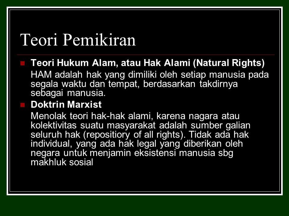 Teori Pemikiran Teori Hukum Alam, atau Hak Alami (Natural Rights) HAM adalah hak yang dimiliki oleh setiap manusia pada segala waktu dan tempat, berdasarkan takdirnya sebagai manusia.