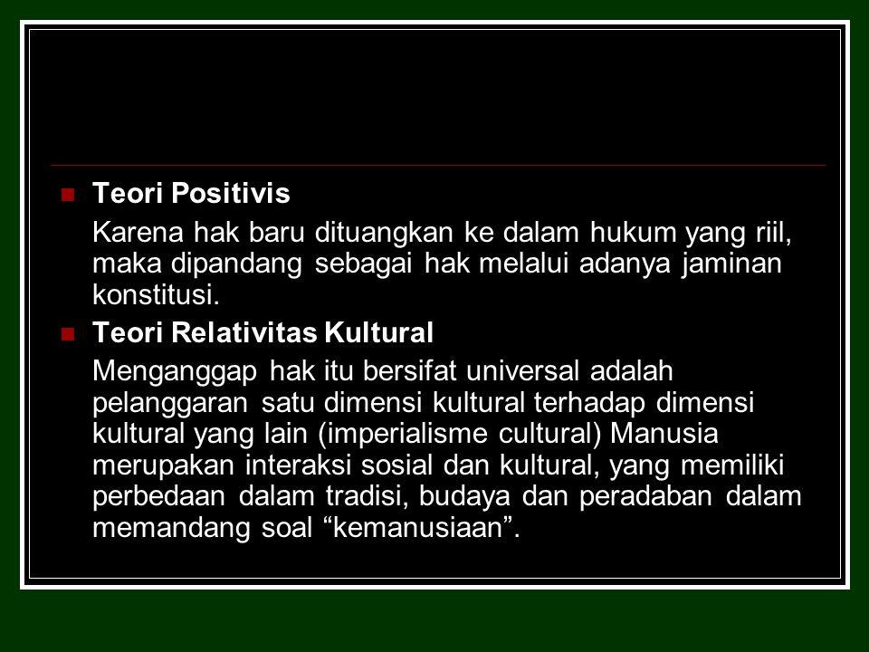 Teori Positivis Karena hak baru dituangkan ke dalam hukum yang riil, maka dipandang sebagai hak melalui adanya jaminan konstitusi.