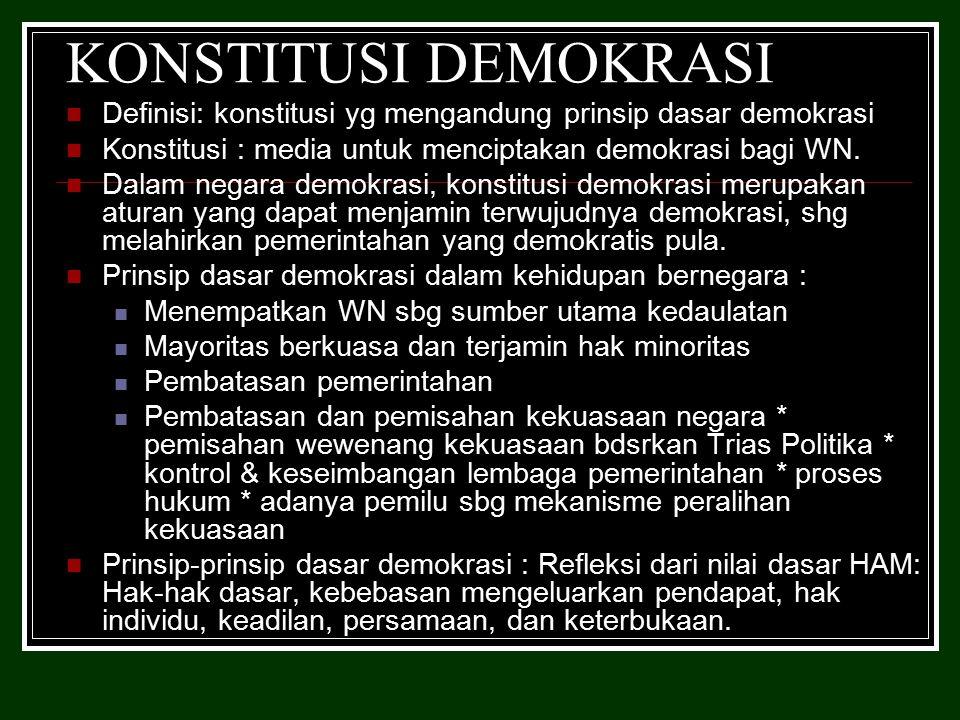 KONSTITUSI DEMOKRASI Definisi: konstitusi yg mengandung prinsip dasar demokrasi Konstitusi : media untuk menciptakan demokrasi bagi WN.