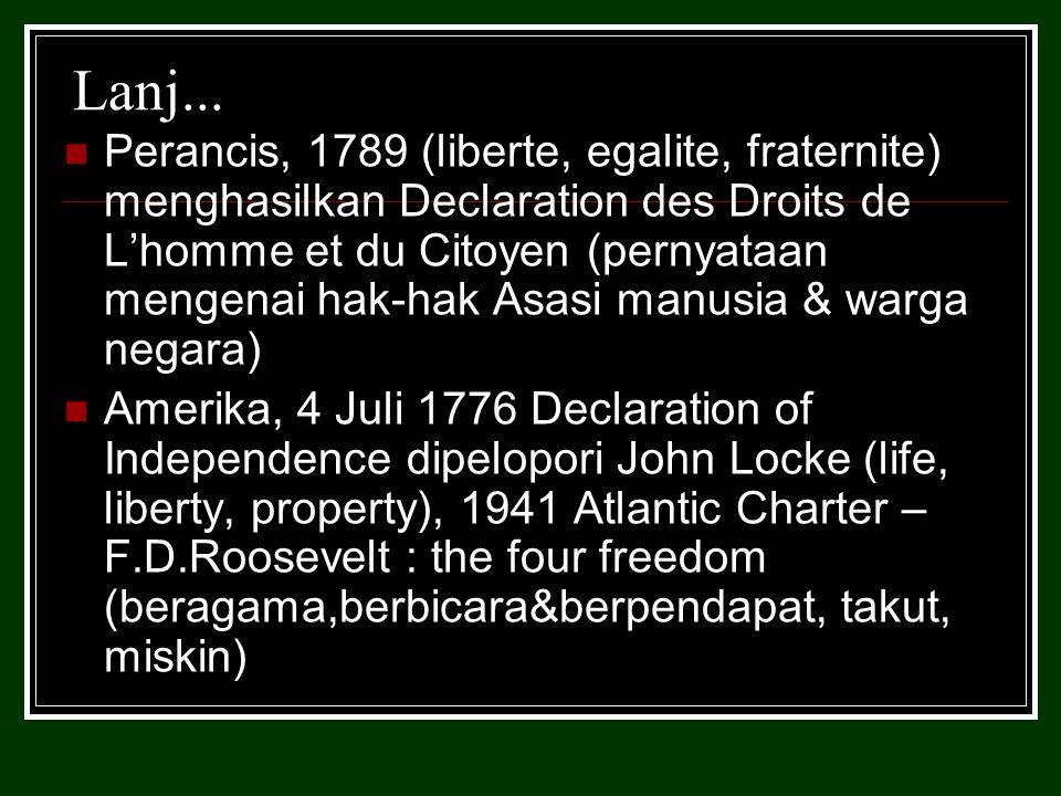 Universal Declaration of Human Rights 10 desember 1948 Hak utk berpikir & mengemukakan pendapat, Hak memiliki sesuatu, Hak mendapatkan pendidikan dan pengajaran, Hak menganut aliran kepercayaan / agama, Hak untuk hidup, Hak untuk kemerdekaan hidup, Hak untuk memperoleh nama baik, Hak untuk memperoleh pekerjaan