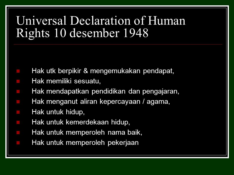 Covenants on Human Rights 1966 diratifikasi negara-negara anggota PBB The International on Civil and Political Rights (Konvensi tentang hak-hak sipil dan politik), The International Covenant on Economic, Social, and Cultural Rights (Konvensi tentang hak ekonomi, sosial, dan budaya), serta Optional Protocol yakni adanya kemungkinan seorang warga negara yang mengadukan pelanggaran HAM kepada The Human Rights Commitee PBB setelah melalui upaya pengadilan di negaranya.