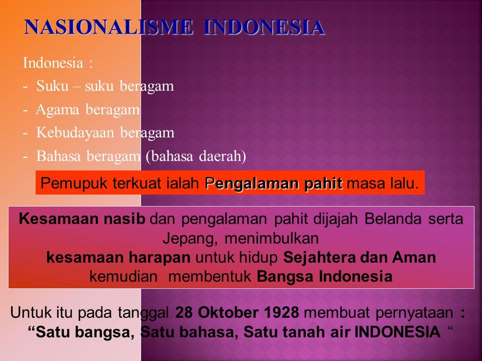 Indonesia : - Suku – suku beragam - Agama beragam - Kebudayaan beragam - Bahasa beragam (bahasa daerah) Kesamaan nasib dan pengalaman pahit dijajah Be