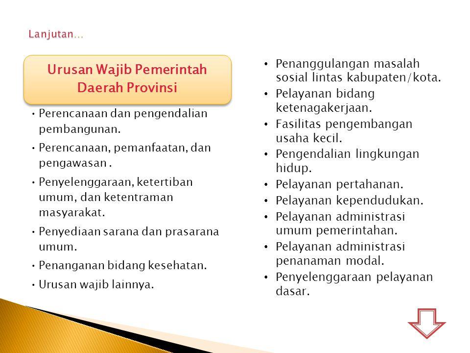 Urusan Wajib Pemerintah Daerah Provinsi Perencanaan dan pengendalian pembangunan. Perencanaan, pemanfaatan, dan pengawasan. Penyelenggaraan, ketertiba