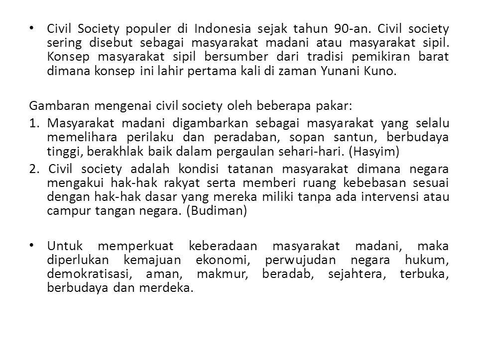 Civil Society populer di Indonesia sejak tahun 90-an. Civil society sering disebut sebagai masyarakat madani atau masyarakat sipil. Konsep masyarakat