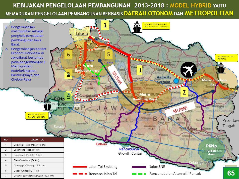Jakarta Prov. Jawa Tengah PENGEMBANGAN METROPOLITAN DI JAWA BARAT Pangandaran Rancabuaya Surade Palabuhanratu 4 2 5 3 6 Aerocity Kertajati 7 1 Metro B